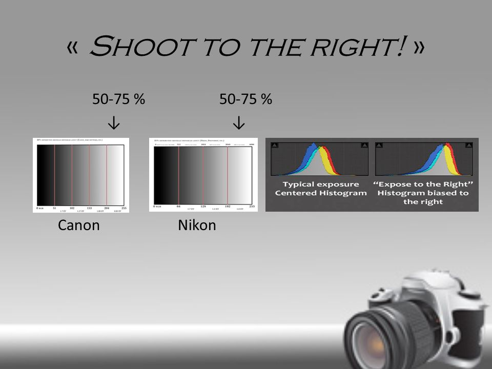 « Shoot to the right! » 50-75 % 50-75 % ↓ ↓ Canon Nikon