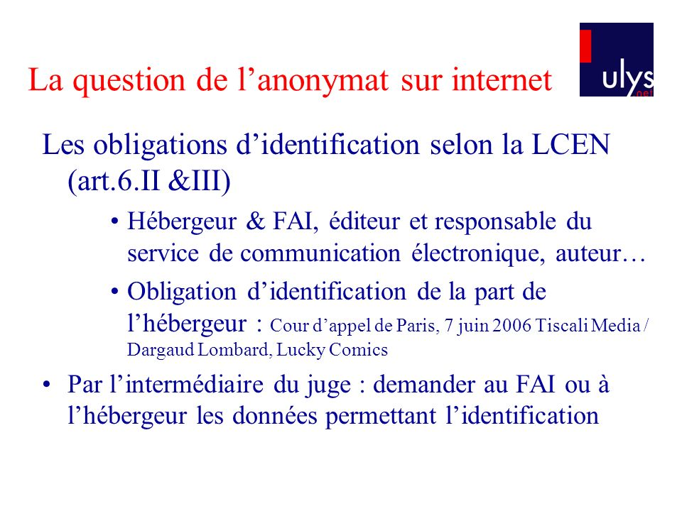 La question de l'anonymat sur internet