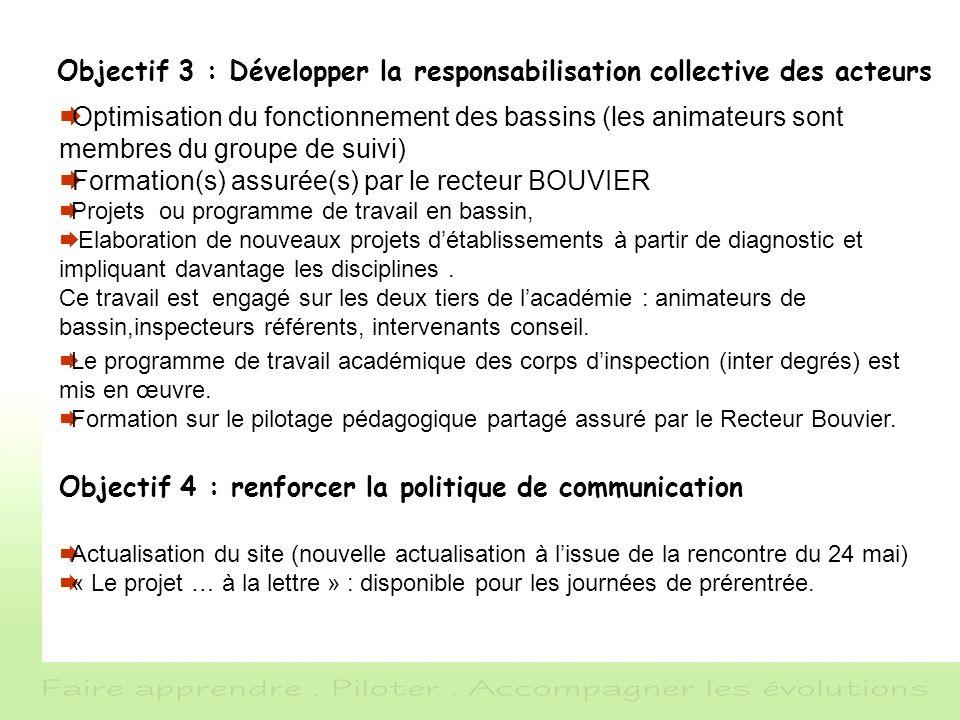 Objectif 3 : Développer la responsabilisation collective des acteurs