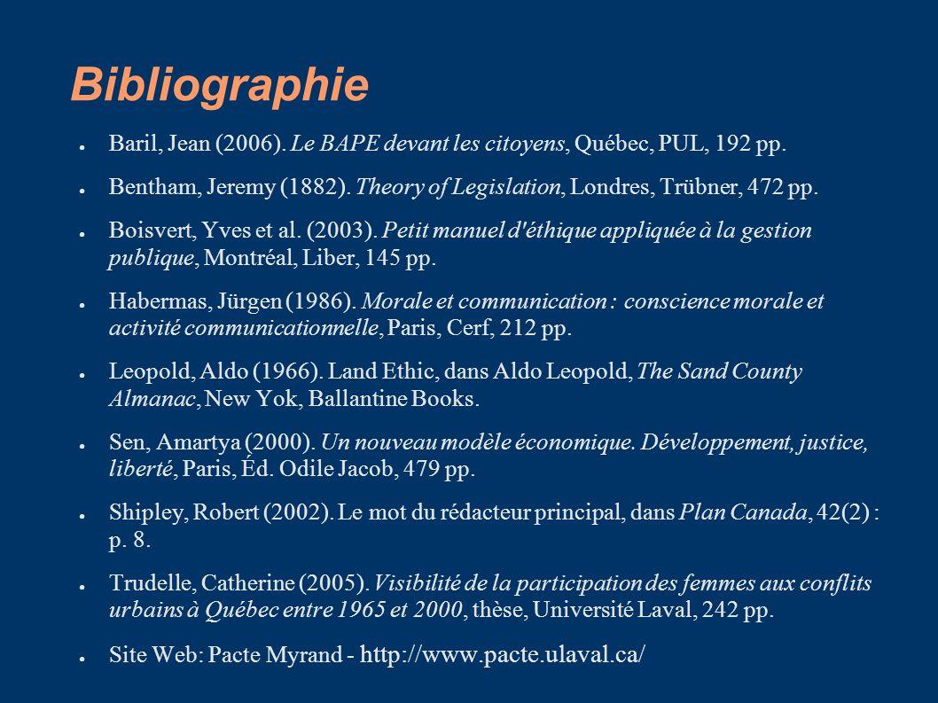 Bibliographie Baril, Jean (2006). Le BAPE devant les citoyens, Québec, PUL, 192 pp.