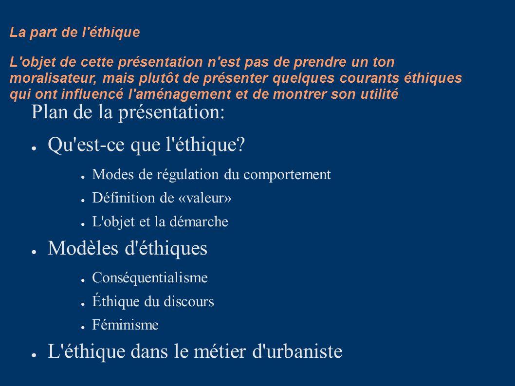 Plan de la présentation: Qu est-ce que l éthique