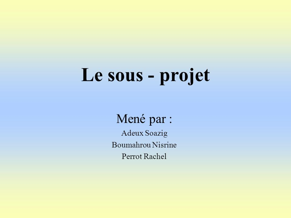Mené par : Adeux Soazig Boumahrou Nisrine Perrot Rachel
