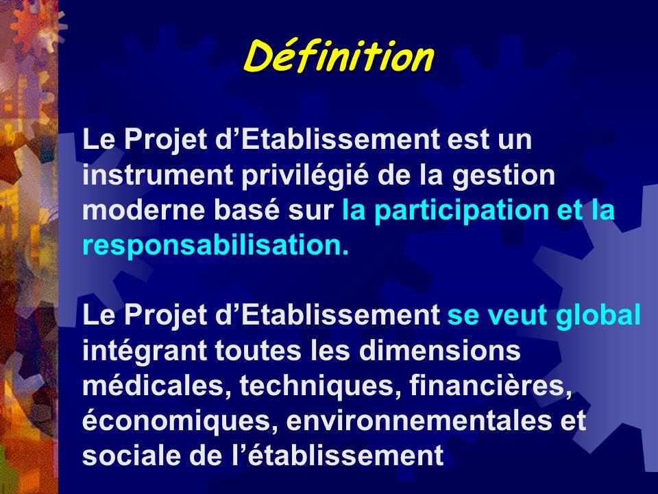Définition Le Projet d'Etablissement est un instrument privilégié de la gestion moderne basé sur la participation et la responsabilisation.