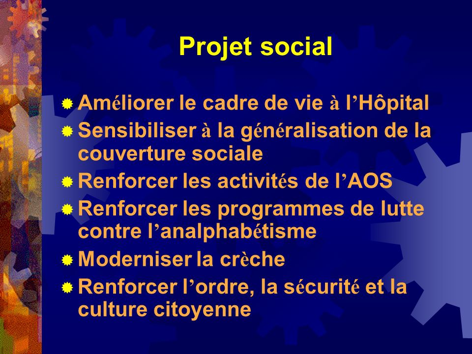 Projet social Améliorer le cadre de vie à l'Hôpital