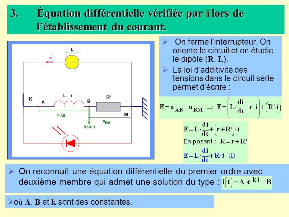 Équation différentielle vérifiée par i lors de l'établissement du courant.
