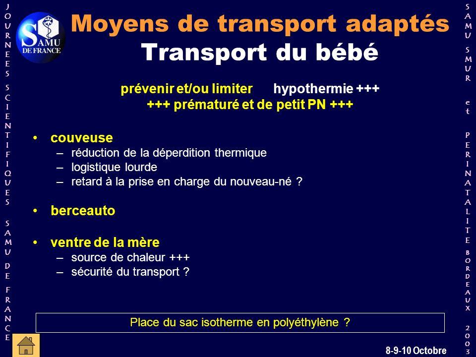 Moyens de transport adaptés Transport du bébé