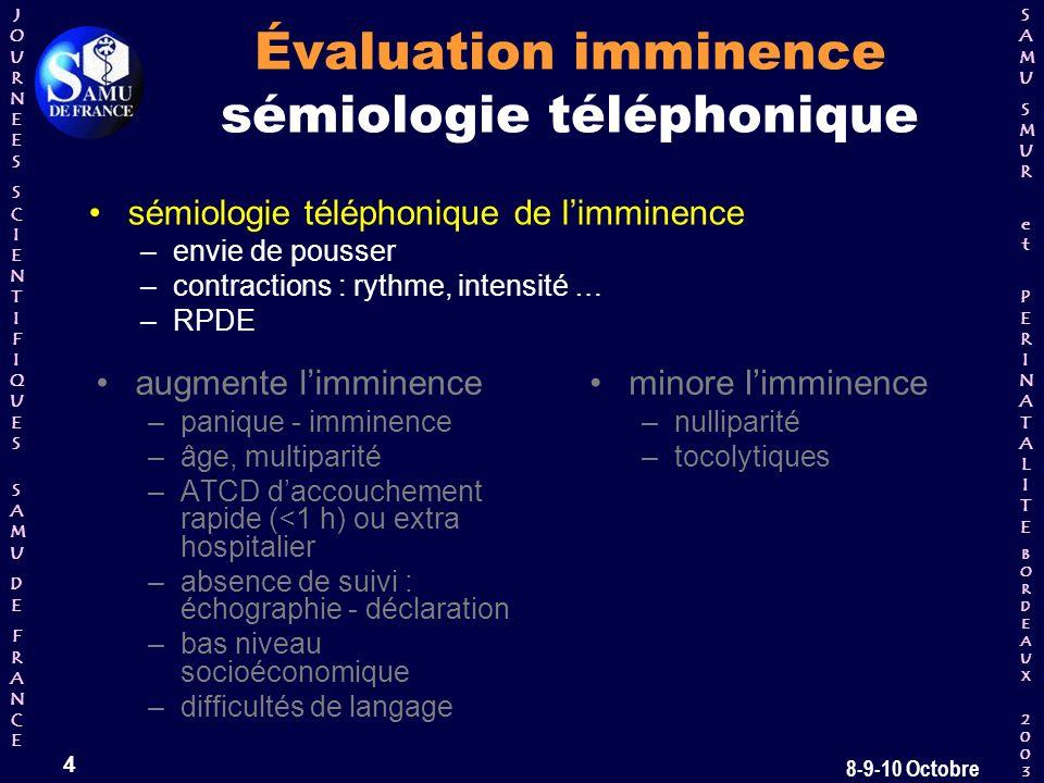 Évaluation imminence sémiologie téléphonique