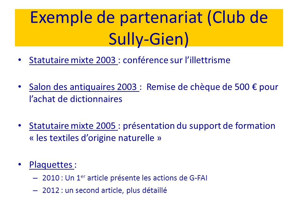 Exemple de partenariat (Club de Sully-Gien)