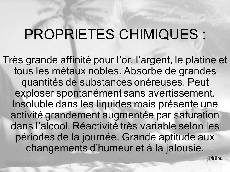 PROPRIETES CHIMIQUES :