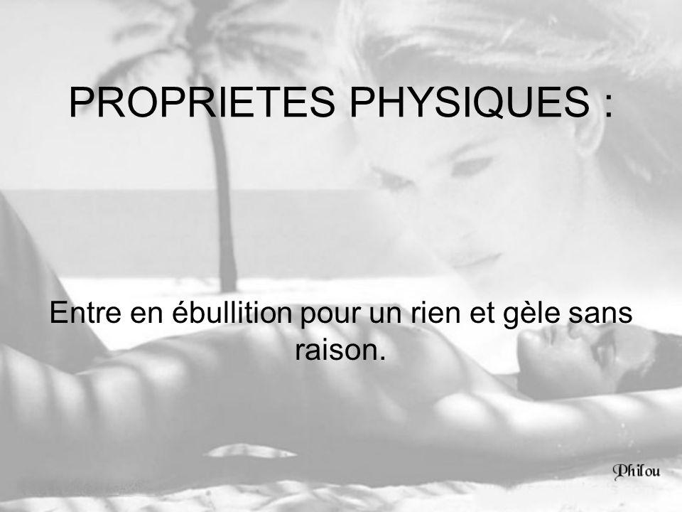 PROPRIETES PHYSIQUES :