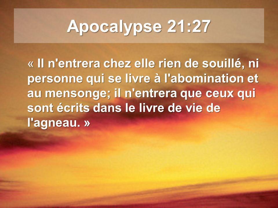 Apocalypse 21:27