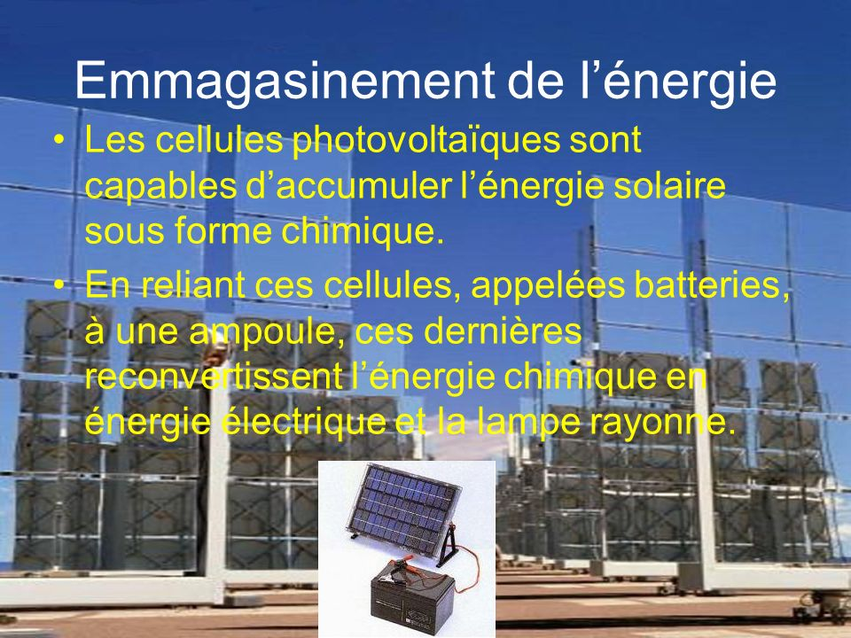 Emmagasinement de l'énergie