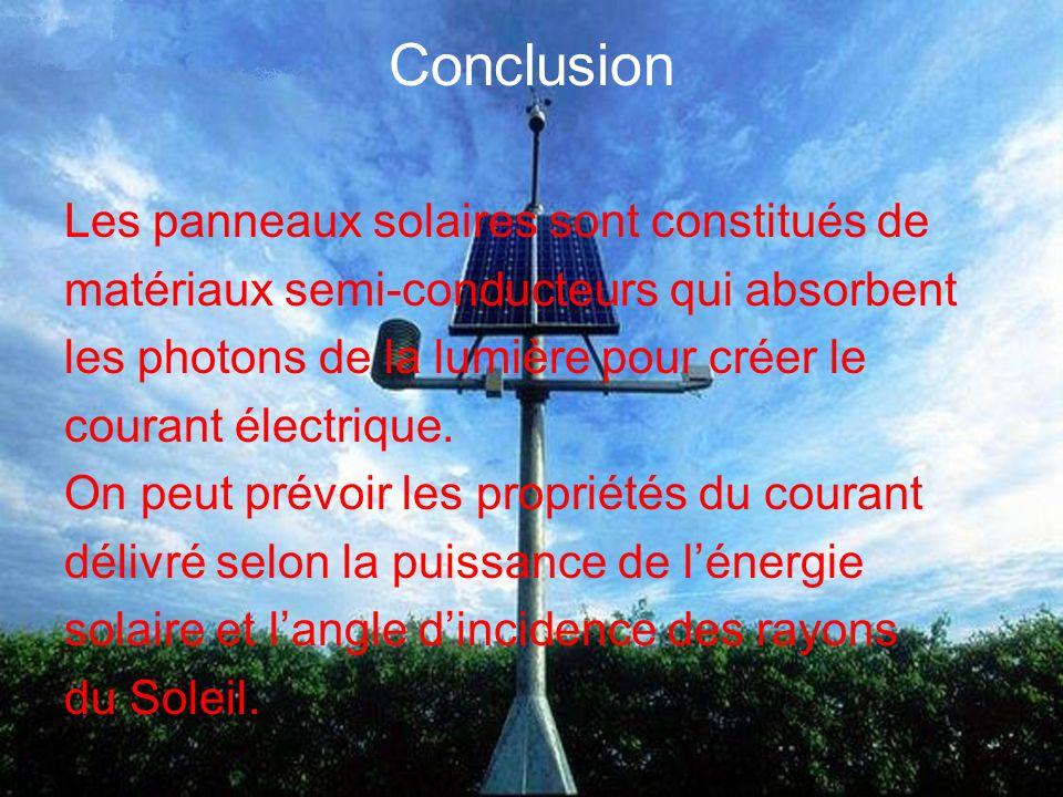 Conclusion Les panneaux solaires sont constitués de