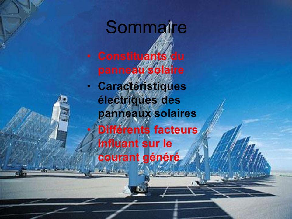 Sommaire Constituants du panneau solaire