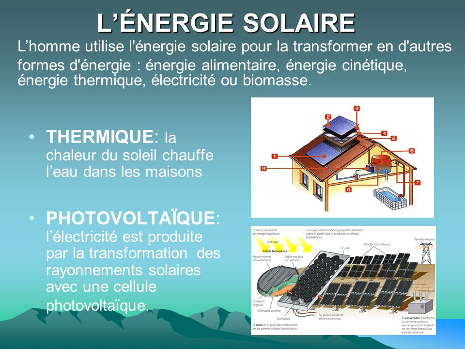 L'ÉNERGIE SOLAIRE L'homme utilise l énergie solaire pour la transformer en d autres.