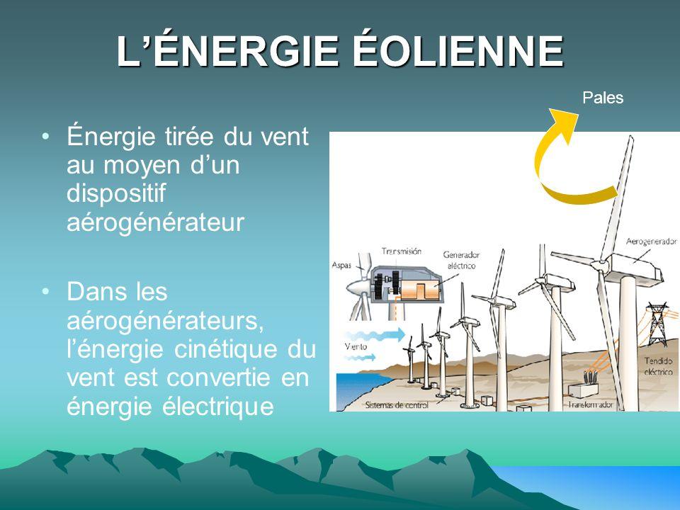 L'ÉNERGIE ÉOLIENNE Pales. Énergie tirée du vent au moyen d'un dispositif aérogénérateur.
