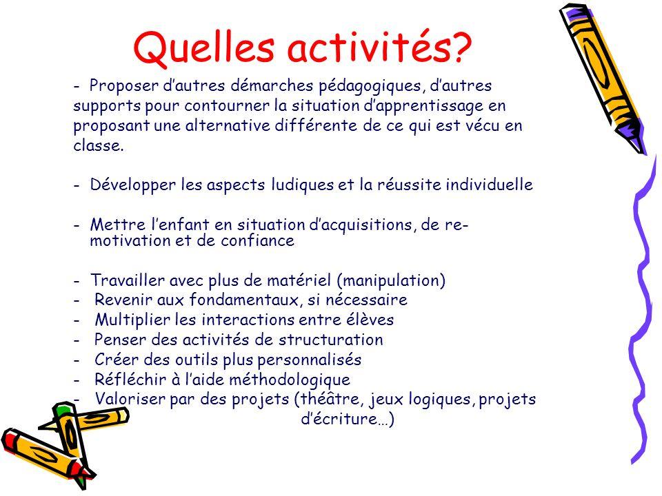 Quelles activités Proposer d'autres démarches pédagogiques, d'autres