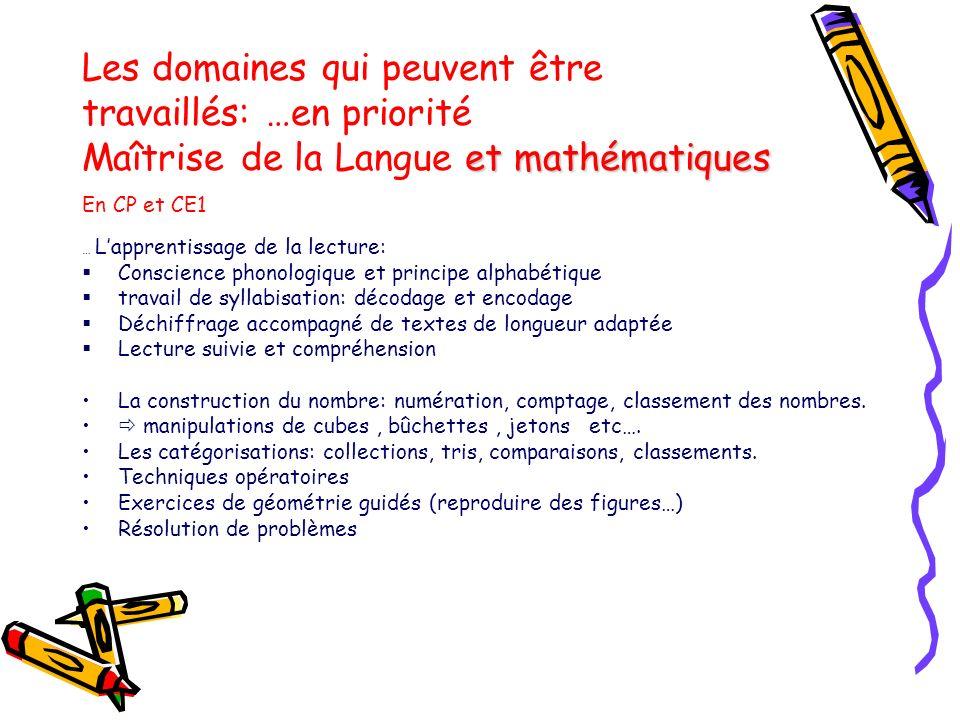 Les domaines qui peuvent être travaillés: …en priorité Maîtrise de la Langue et mathématiques