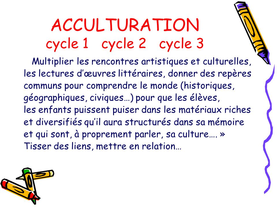 ACCULTURATION cycle 1 cycle 2 cycle 3