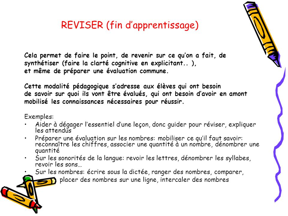 REVISER (fin d'apprentissage)