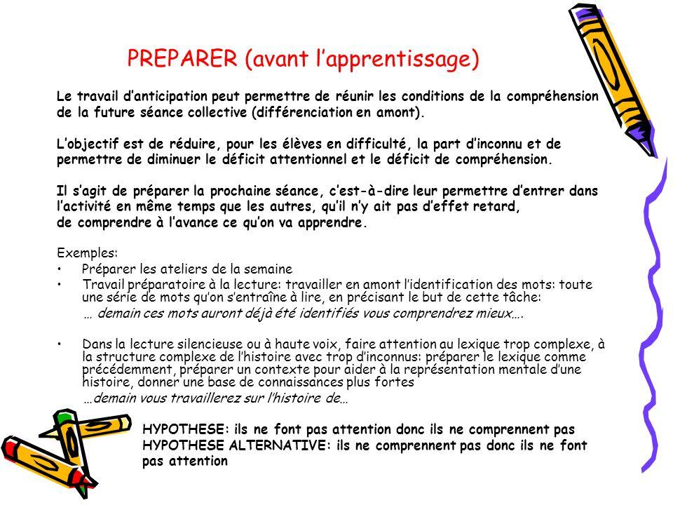 PREPARER (avant l'apprentissage)
