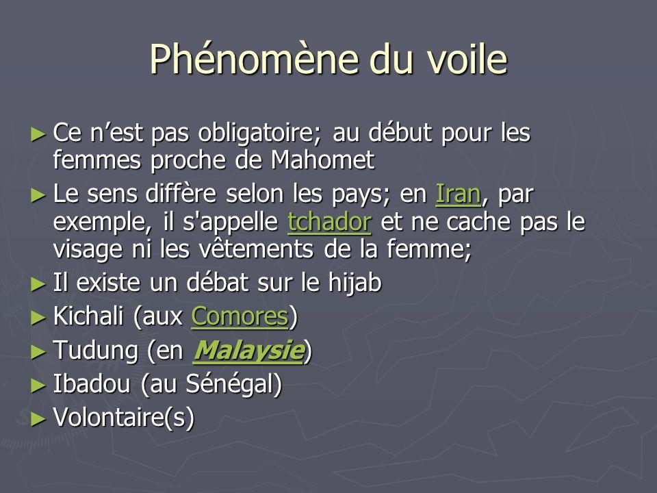 Phénomène du voile Ce n'est pas obligatoire; au début pour les femmes proche de Mahomet.