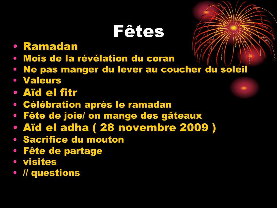 Fêtes Ramadan Aïd el fitr Aïd el adha ( 28 novembre 2009 )