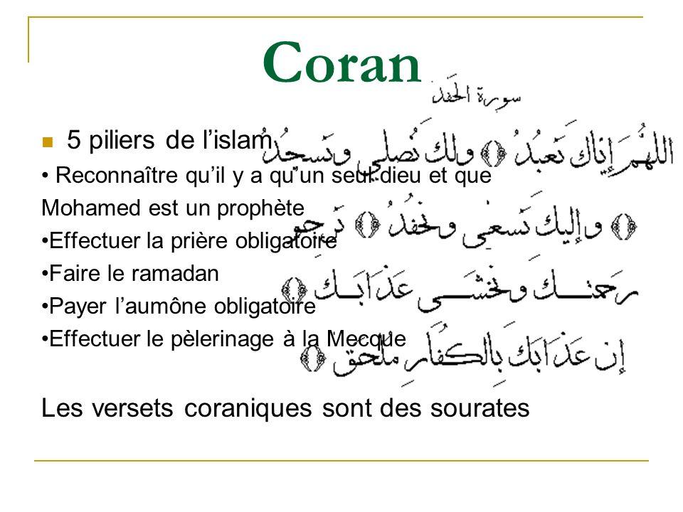 Coran 5 piliers de l'islam Les versets coraniques sont des sourates