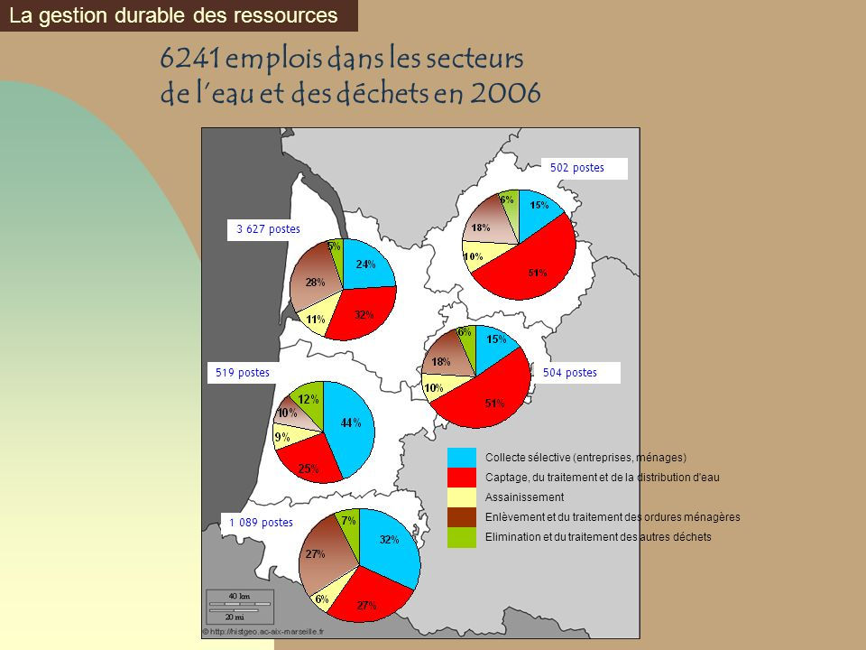 6241 emplois dans les secteurs de l'eau et des déchets en 2006