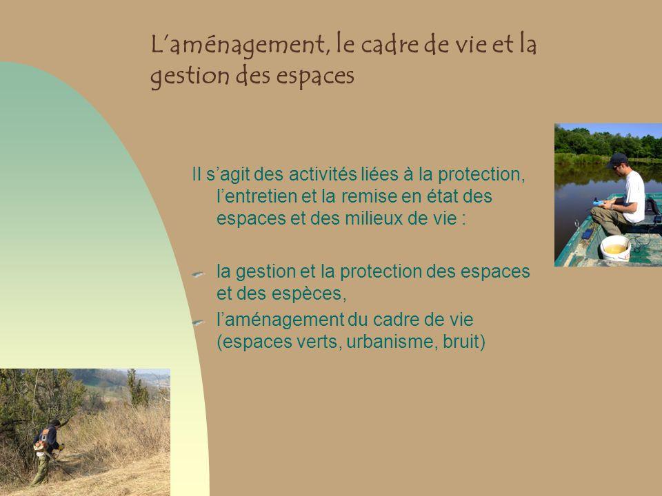 L'aménagement, le cadre de vie et la gestion des espaces