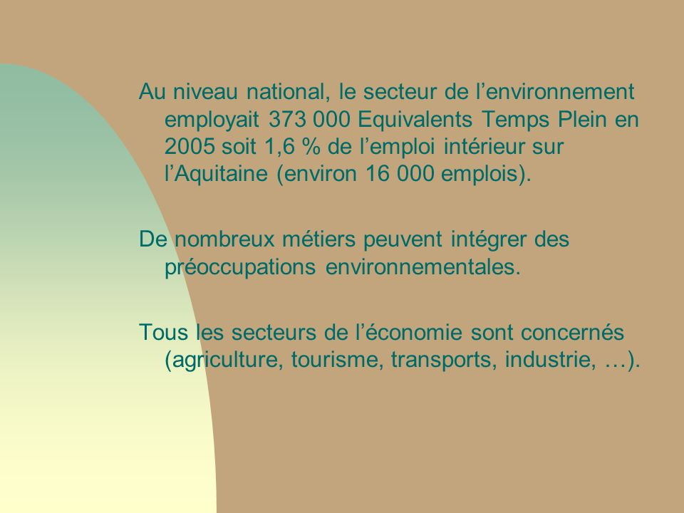 Au niveau national, le secteur de l'environnement employait 373 000 Equivalents Temps Plein en 2005 soit 1,6 % de l'emploi intérieur sur l'Aquitaine (environ 16 000 emplois).