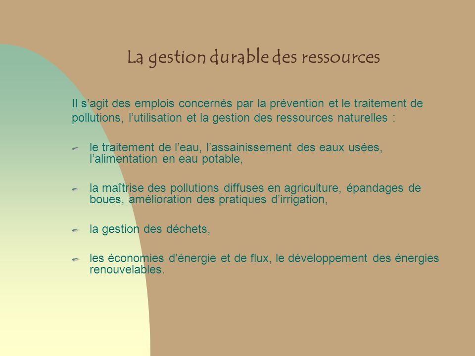 La gestion durable des ressources