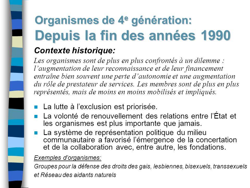 Organismes de 4e génération: Depuis la fin des années 1990