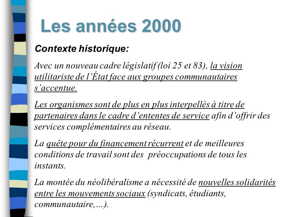Les années 2000 Contexte historique: