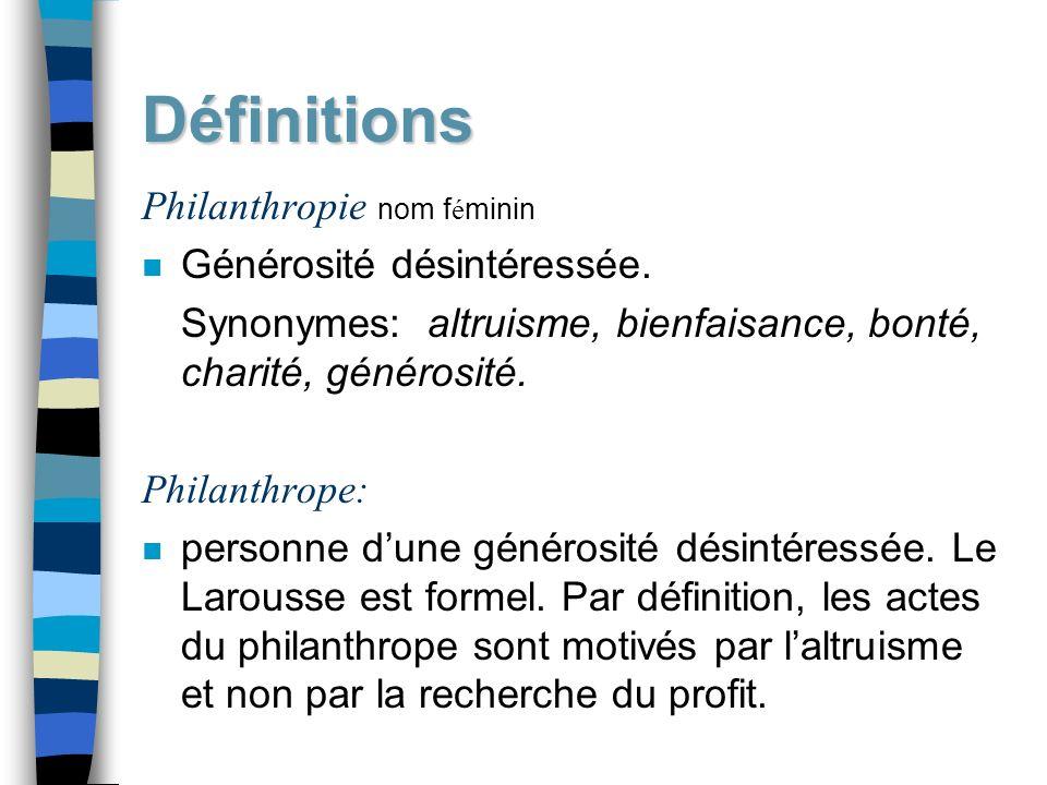 Définitions Philanthropie nom féminin Générosité désintéressée.