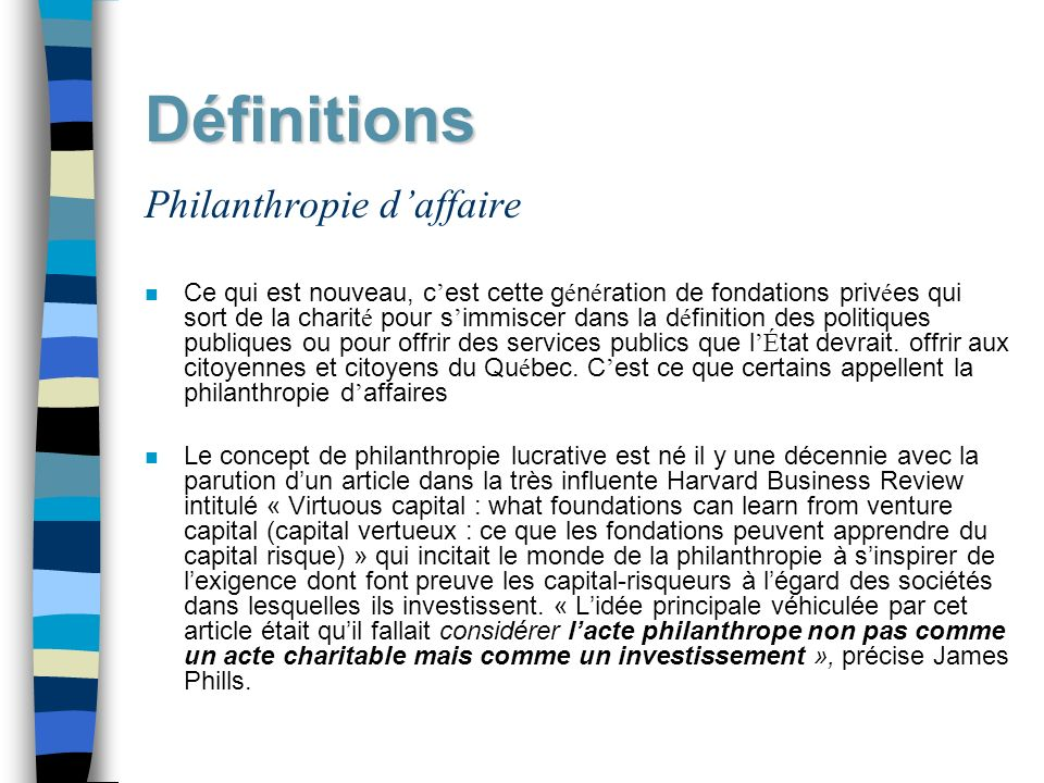 Définitions Philanthropie d'affaire