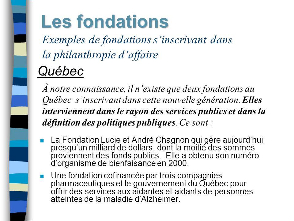 Les fondations Québec Exemples de fondations s'inscrivant dans
