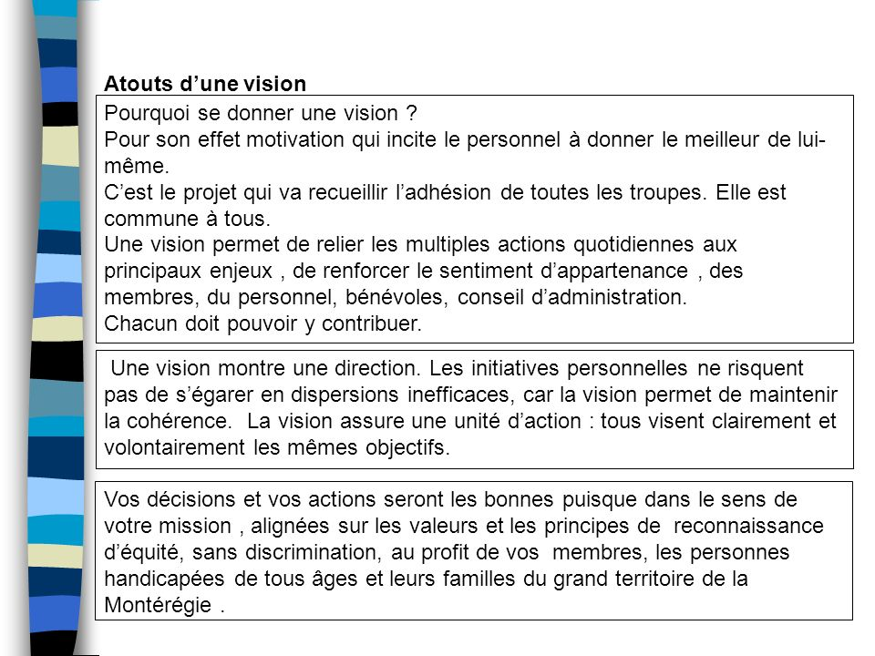 Une vision montre une direction