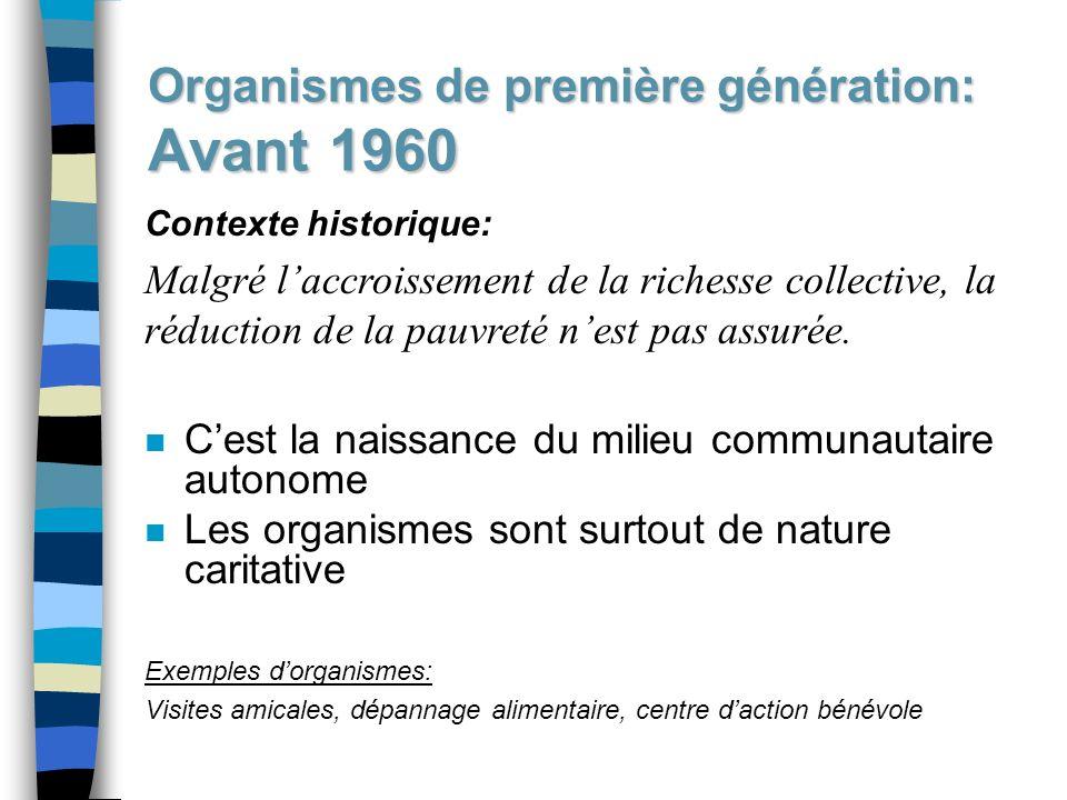 Organismes de première génération: Avant 1960