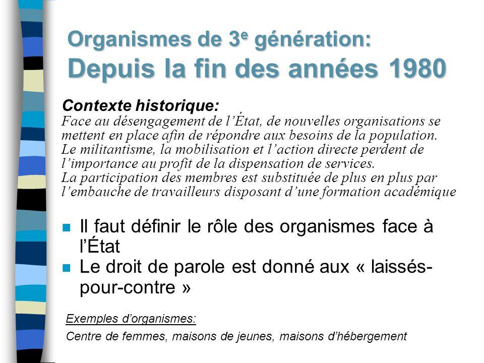 Organismes de 3e génération: Depuis la fin des années 1980