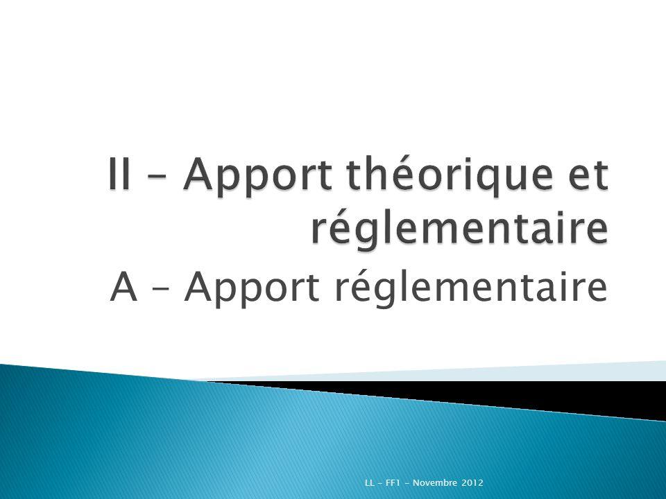 II – Apport théorique et réglementaire