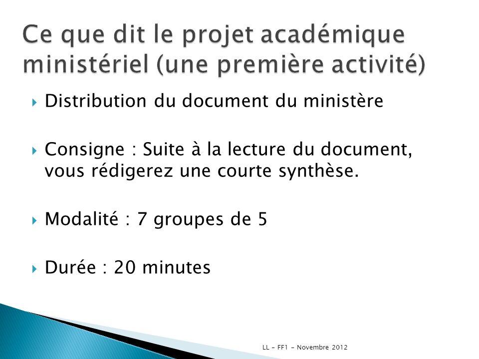 Ce que dit le projet académique ministériel (une première activité)