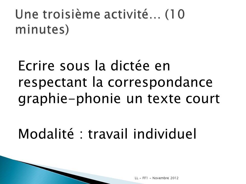 Une troisième activité… (10 minutes)