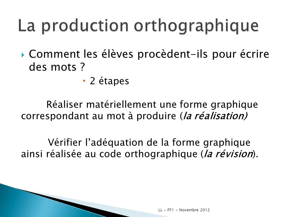 La production orthographique