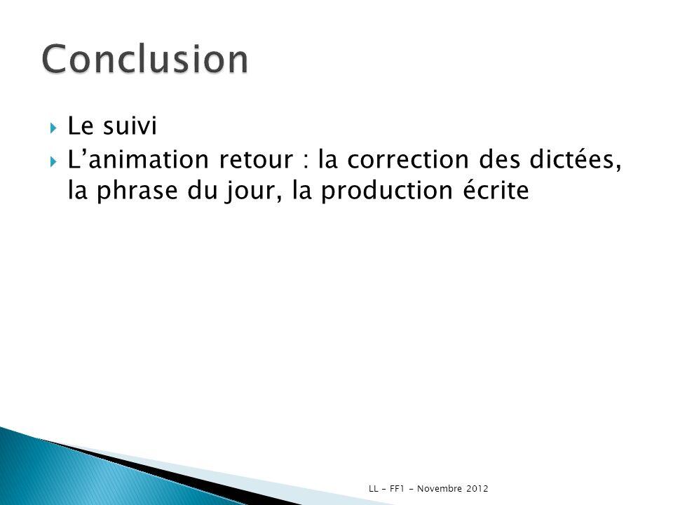 Conclusion Le suivi. L'animation retour : la correction des dictées, la phrase du jour, la production écrite.