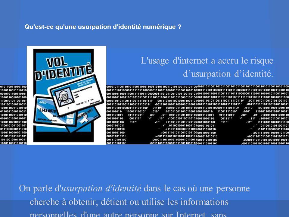 Qu est-ce qu une usurpation d identité numérique