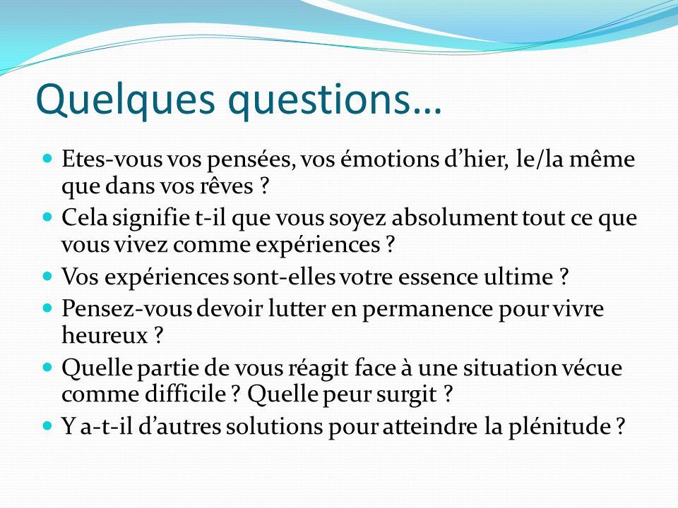 Quelques questions… Etes-vous vos pensées, vos émotions d'hier, le/la même que dans vos rêves