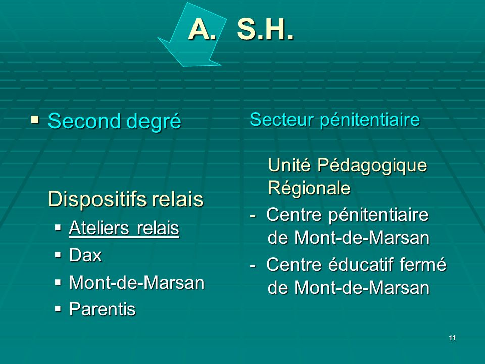 A. S.H. Second degré Dispositifs relais