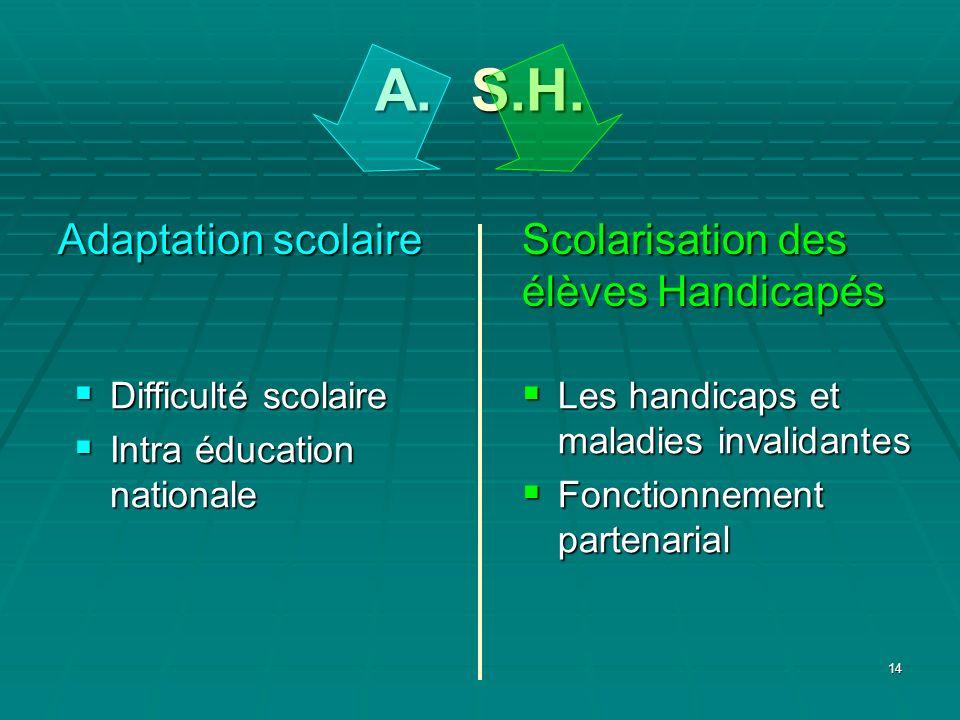 A. S.H. Scolarisation des élèves Handicapés Adaptation scolaire