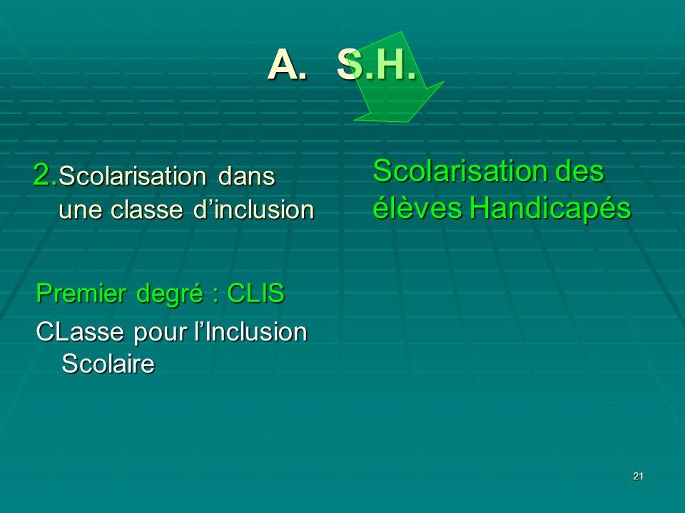 A. S.H. Scolarisation des élèves Handicapés
